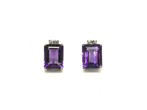 Amethyst And Diamond Stud Ad No.0789