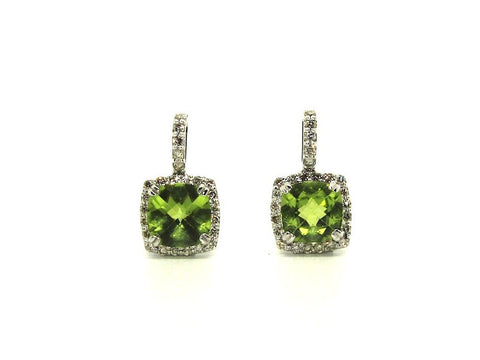 Peridot And Diamond Cushion Halo Earring Ad No.0903