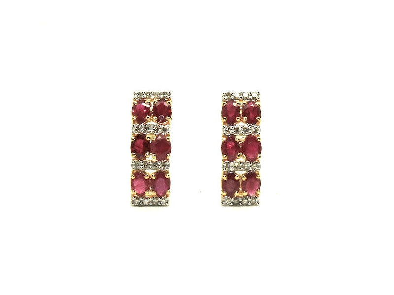 Ruby And Diamond 2row Parallel Earring Ad No.0986