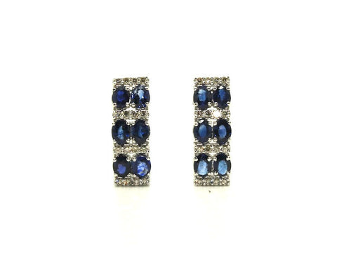 Blue Sapphire And Diamond 2row Parallel Earring Ad No.0985