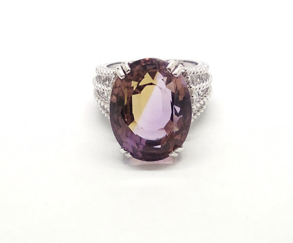Wheaton Ring with Amethyst and Diamonds SIL-RNG-065
