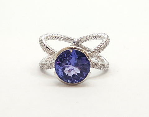TANZANITE RING WITH HALO DIAMOND SET IN 14K WHITE GOLD AD.NO-1849