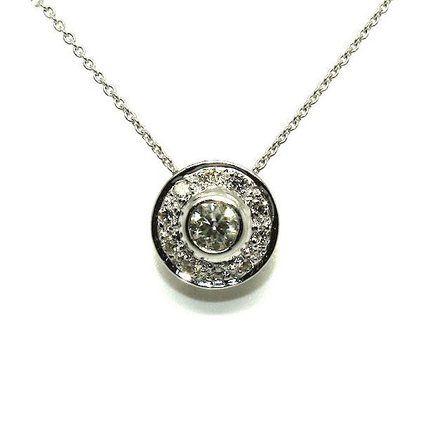 Diamond Bezel Halo Pendant Ad No.1017
