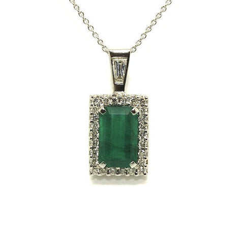 Emerald And Diamond  Halo Pendant Ad No.0534