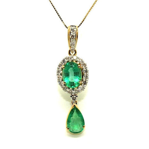 Emerald And Diamond Double Drop Pendant Ad No.0875