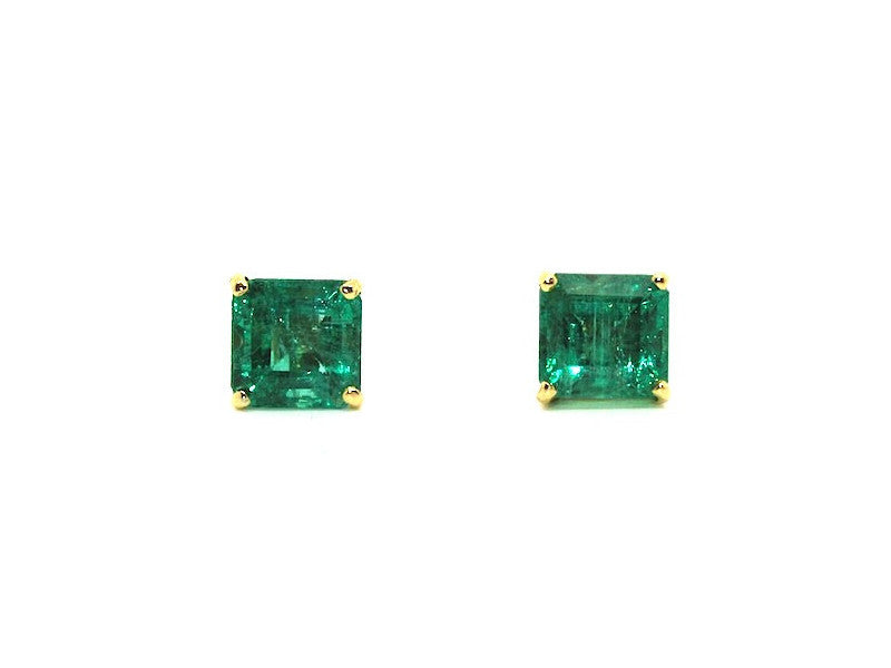 Emerald Stud Princess Cut Ad No.0716