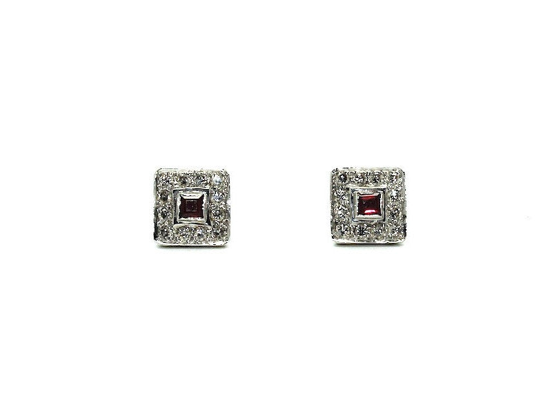 Ruby And Diamond Pave Cluster Earring Ad No. 0169