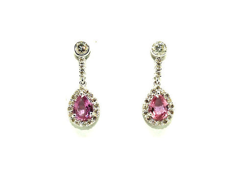 Pink Sapphire And Diamond Halo Drop Earring Ad No. 0987