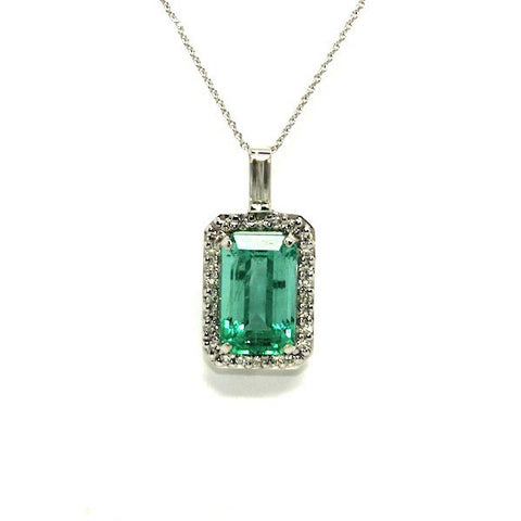 Emerald And Diamond Halo Pendant Ad No.0718