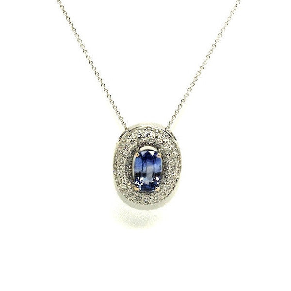 Blue Sapphire And Diamond Double Halo Pendant Ad No.0548