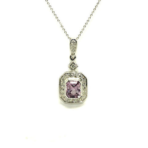 Pink Sapphire And Diamond Halo Pave Pendant Ad No.0554