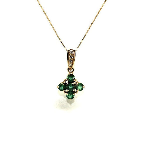 Emerald And Diamond Floral Pendant Ad No.0513