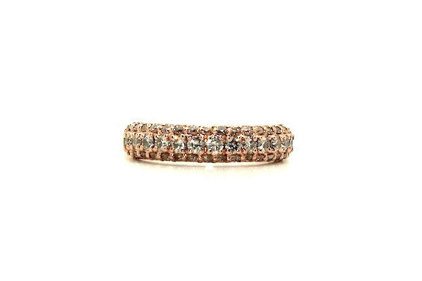 Three Dimensional Diamond Band In Rose Gold
