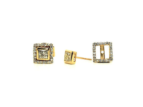 Bezel Set Princess Cut Diamond Stud With Diamond Jackets