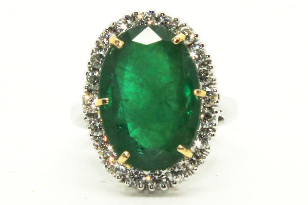 Large Emerald And Diamond Cluster Ring In 14k Yellow & White Gold