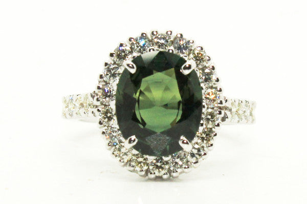 Green Sapphire And Diamond Halo Ring In 14k White Gold