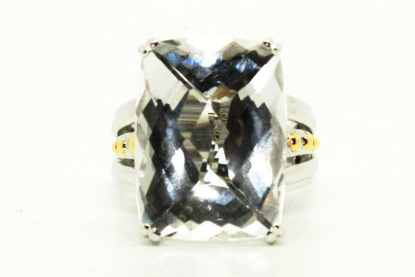 Designer White Crystal Ring In Silver And 14k Yellow Gold