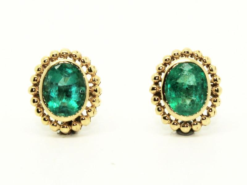 Emerald Earrings In 14k Yellow Gold