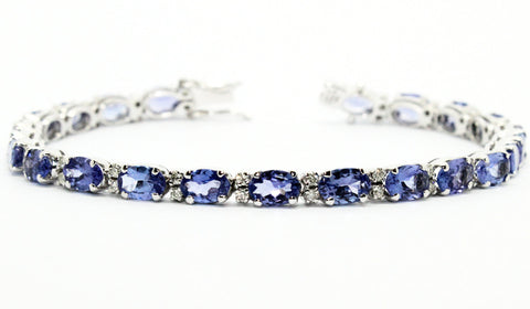 Tanzanite And Diamond Tennis Bracelet Ad No.0692