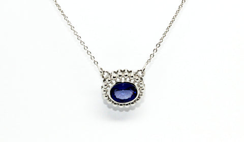 Tanzanite Bezel Necklace 14k & 18k White Gold