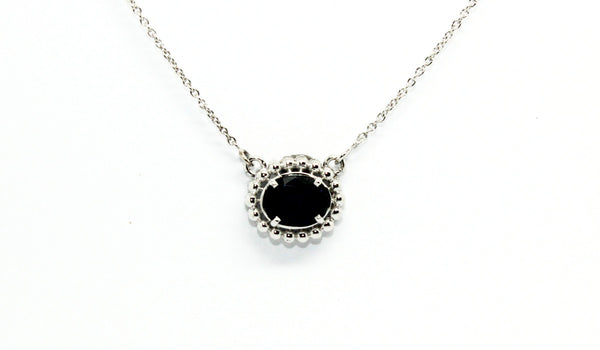 Blue Sapphire Prong Necklace 14k/18k White Gold