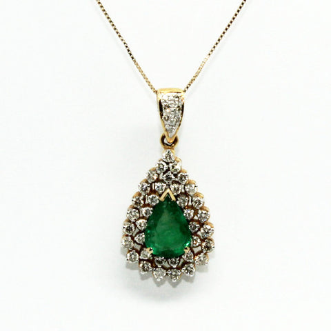 Emerald And Diamond Double Clustered Pendant Ad No.0547