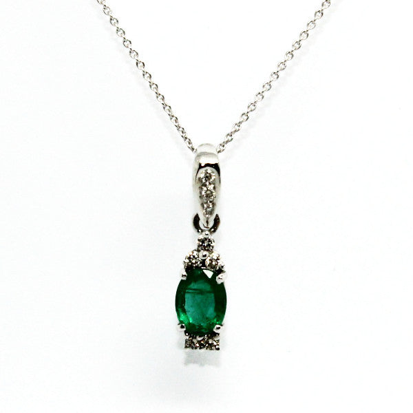 Emerald & Double Diamond Station Pendant Ad No.0613