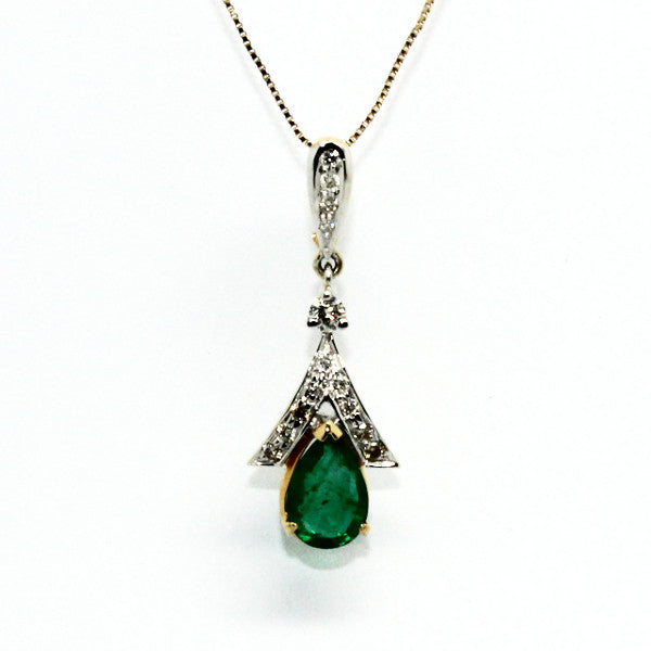 Emerald And Diamond Split-cart Pendant Ad No.0590