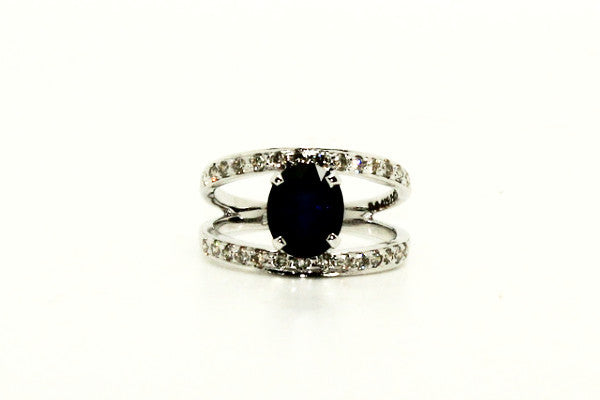 Blue Sapphire & Diamond Parallel Ring