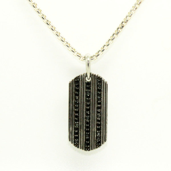 Black Diamond Dog Tag Silver Pendant
