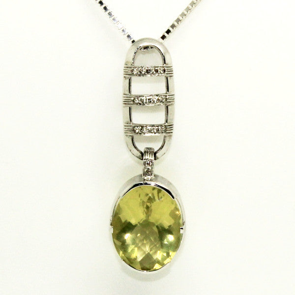 Lemon Topaz And Diamond Pendant
