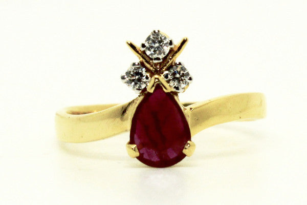 RUBY & DIAMOND FLORAL TEARDROP RING AD NO. 1230