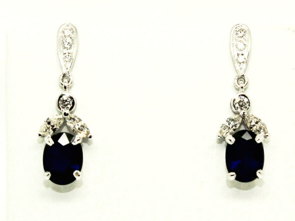 BOW MARQUISE DIAMOND EARRINGS IN BLUE SAPPHIRE AD NO.1229