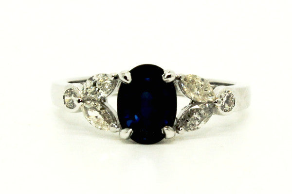 BOW MARQUISE DIAMOND RING IN BLUE SAPPHIRE AD NO.1227