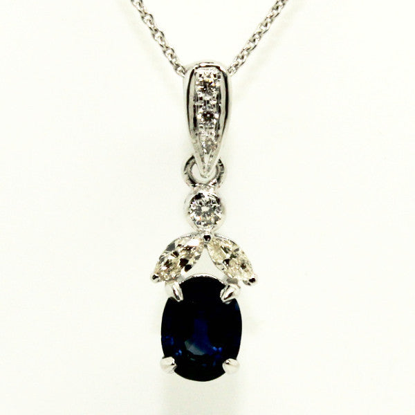 BOW MARQUISE DIAMOND PENDANT IN BLUE SAPPHIRE AD NO.1228