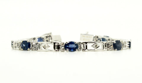 BLUE SAPPHIRE AND DIAMOND PARALLEL BRACELET AD NO.1240