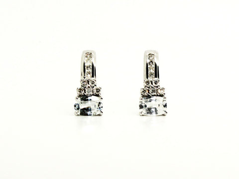 WHITE SAPPHIRE AND DIAMOND SINGLE BAR EARRING AD NO.1244