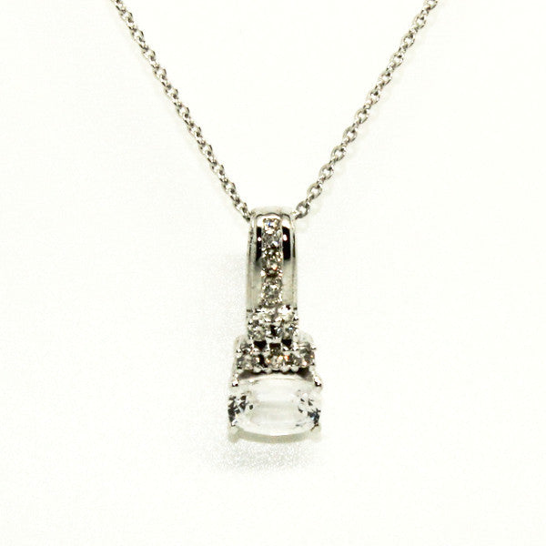 WHITE SAPPHIRE AND DIAMOND SINGLE BAR PENDANT AD NO.1243