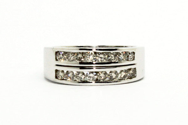 DIAMOND CHANNEL SET 2 ROW RING AD NO.1303