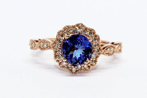 TANZANITE AND DIAMOND MILGRAIN HALO RING AD NO.1605