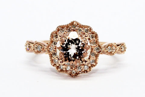 MORGANITE AND DIAMOND MILGRAIN HALO RING AD NO.1606