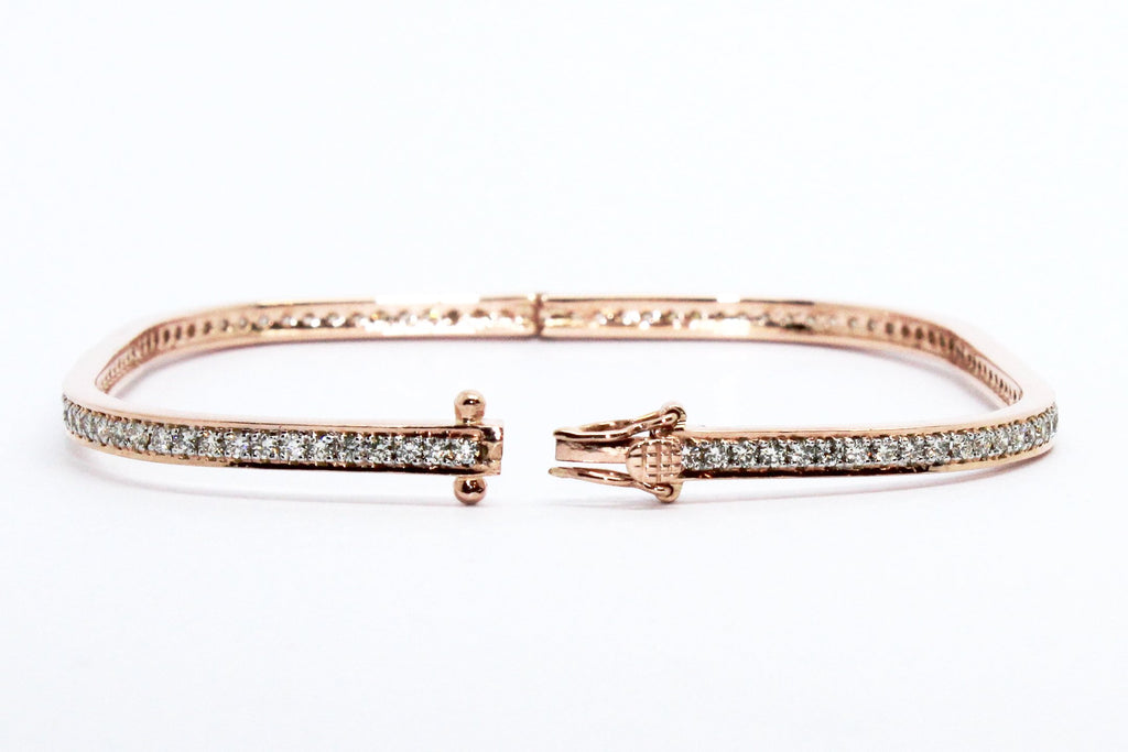 Stackable Pavé Diamond Bangle in 18k Rose Gold AD NO.1612