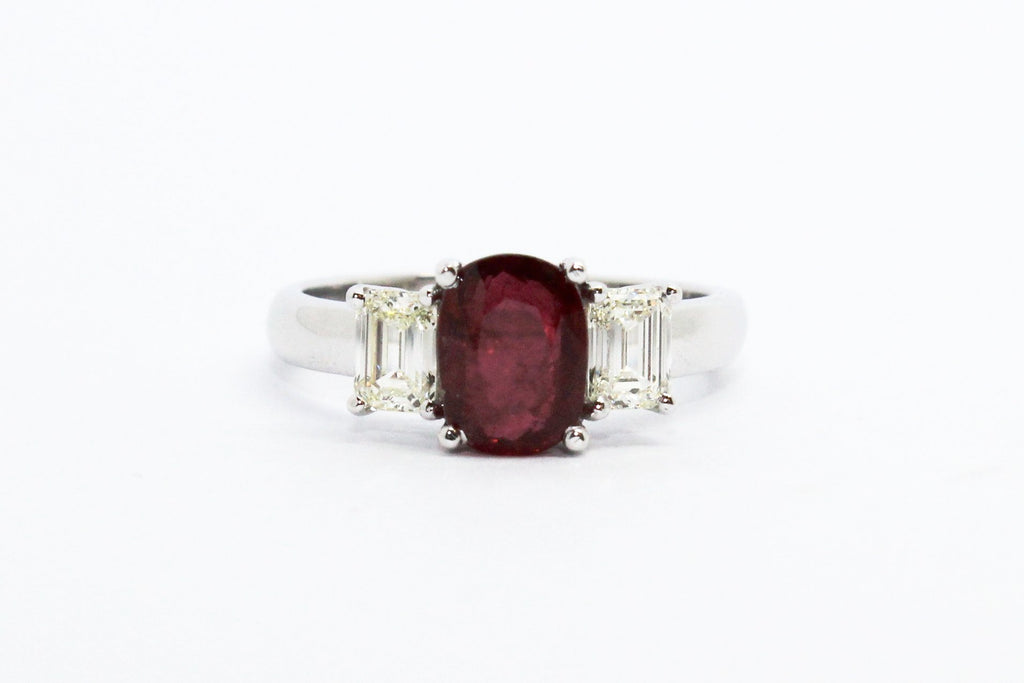 BLOOD RUBY AND DIAMOND RING AD NO.1624