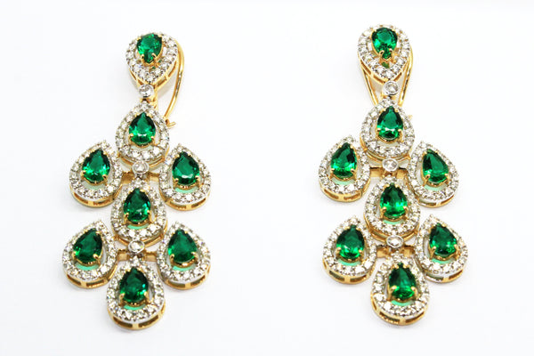 FINE GREEN HYDRO AND DIAMOND TEARDROP EARRINGS AD NO.1562