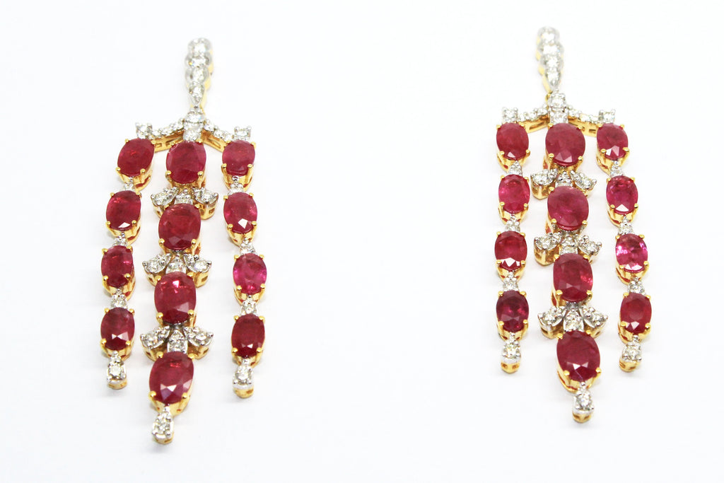 RUBY AND DIAMOND WATERFALL EARRINGS AD NO.1553
