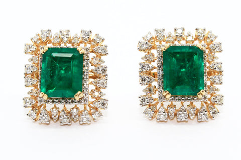 GREEN HYDRO AND DIAMOND DOUBLE HALO EARRINGS AD NO.1555