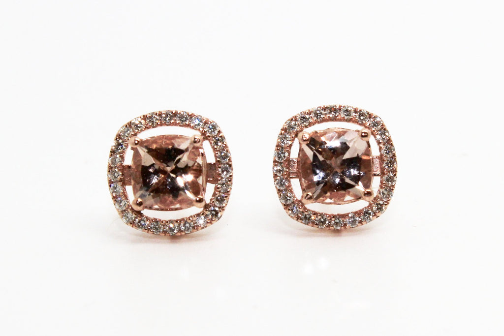 MORGANITE AND DIAMOND HALO STUD EARRINGS AD NO 1629