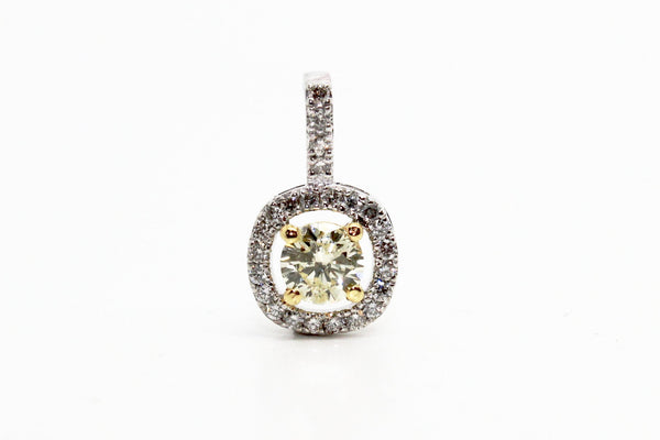YELLOW DIAMOND ROUND-CUT HALO PENDANT AD NO 1627
