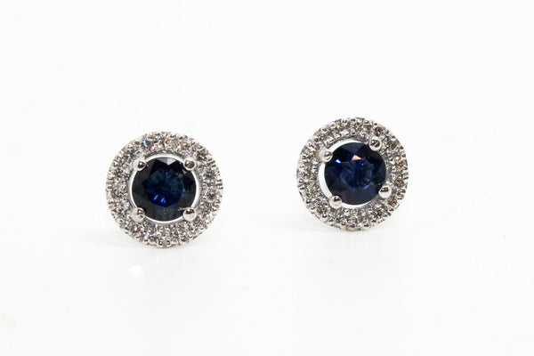 BLUE SAPPHIRE AND MICROPAVÉ DIAMOND HALO STUD EARRINGS AD NO.1630