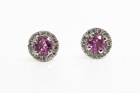 PINK SAPPHIRE AND MICROPAVÉ DIAMOND HALO STUD EARRINGS AD NO.1631